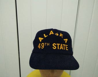 Rare Vintage ALASKA 49th STATE Embroidered Cap Hat Free size fit all