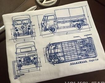 Classic Volkswagen Single Cab Blueprint T-shirt.  Full front print on a 100% cotton preshrunk Tee. White shirt, navy blue print.