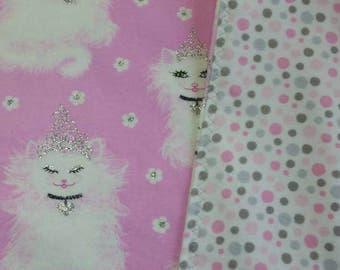Glitter Kitty, Flannel Baby Blanket, Handmade, Oversized Swaddler, Toddler Blanket, Princess, Cat, Cat Lady, Cat Baby, Pink Princess