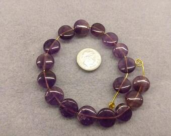 Amethyst 10mm coin shaped beads semi precious