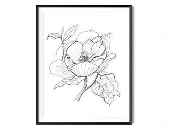 Magnolia Print, Flower Art, Botanical Illustration, Wall Art, Pen Ink Print, Floral Art, Botanical Print, Black White Flower Print, Flora