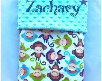 Personalised baby blanket, crib monkey blanket, embroidered name blanket, Baby cot blanket, Popcorn blanket, Baby shower gifts, Birthday
