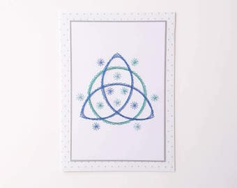 Birthday card, Greetings card, Hand-stitched greetings card, Hand-stitched birthday card, Triquetra design card, Celtic Trinity Knot