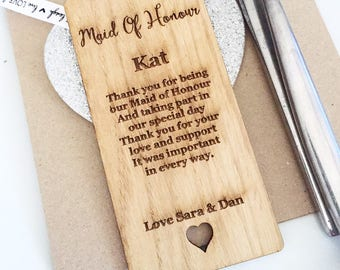 Maid of Honour Place Setting, Maid of Honour Wooden Place Setting, Place Cards, Name place, Place Setting, Maid of honour gift, PS06
