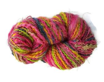Wool knitting yarn, extra bulky wool knitting yarn skein, knitting yarn, pink rainbow yarn, multi-colour yarn, hand-dyed yarn, handspun yarn