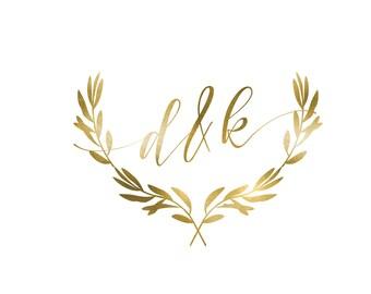 Wedding Monogram, Wedding Logo, DIY wedding, wedding initials, printable wedding, wreath monogram, leaves monogram, gold logo - Sept