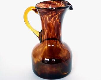 Vintage Tortoise Shell Glass Pitcher with Applied Amber Handle, Retro Art Glass Pitcher, Hand Blown Tortoiseshell Glass