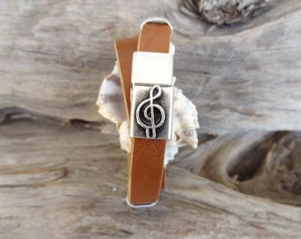 EXPRESS SHIPPING,Men's Camel Leather Bracelet,Music Note Bracelet,Wrap Bracelet,Magnetic Clasp Bracelet,Gift for Him,Father's Day Gifts