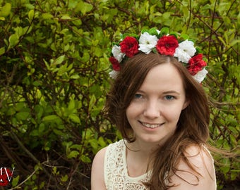 Red and white spring wedding flower crown