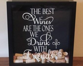 Wine Cork Shadow Box, Wine Cork Holder, Wine Gift, Bridal Shower Gift, Bridesmaid Gift, Housewarming Gift