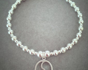 Sterling Silver Mix Bead Yin Yang Charm Bracelet