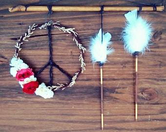 Bohochic Peace Arrow Wall hanging - bohemian boho home decor ideas -  hippie room - bedroom - teen girl gifts - tapestry