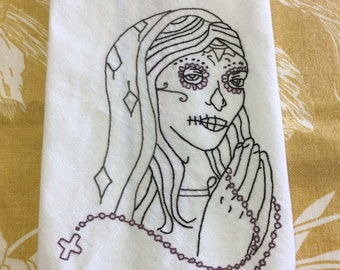 Dia de los muertos hand embroidered tea towel