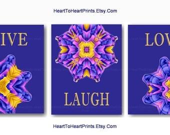 Boho Wall Art Navy Purple Bohemian Wall Decor Purple Yellow Mandala Art  Prints Live Love Laugh
