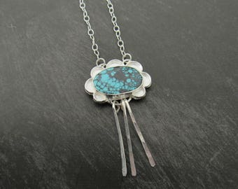 Sky Cloud Turquoise Sterling Necklace, Sterling Necklace, Silversmith, Turquoise Necklace
