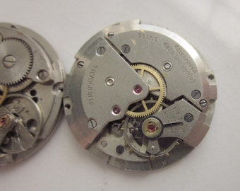 2 Vintage Mechanical Watches, One with Attached Date Dial, Rhodium Plate, 26mm