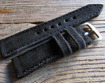 Black  distressed Canvas strap  custom made for panerai