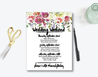 3 day destination wedding weekend itinerary template printable wedding itinerary diy wedding destination