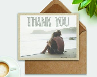 Beach Wedding Thank You Card Personalized Photo Postcard by The Tiny Typewriter