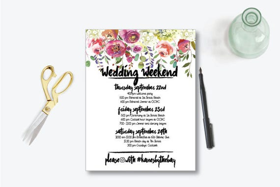 Day Destination Wedding Weekend Itinerary Template
