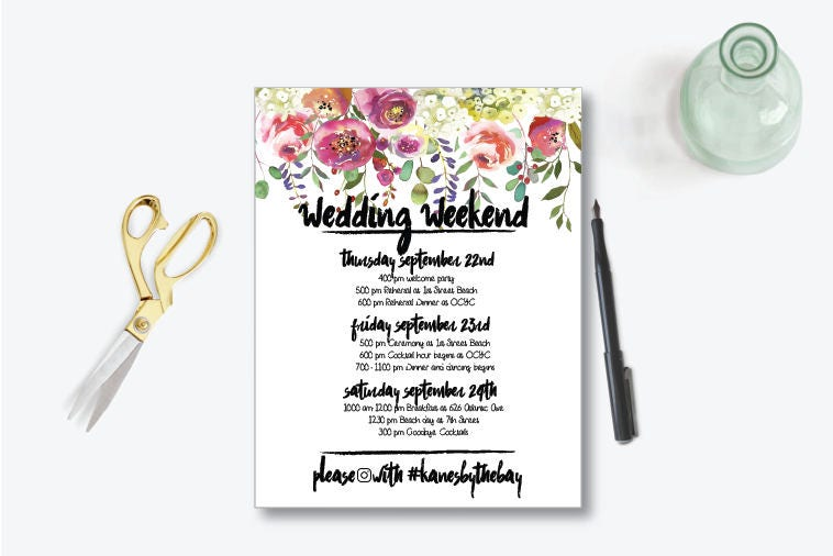 Wedding itinerary – Wedding Weekend Itinerary Template
