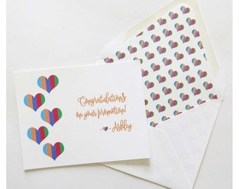 Rodan and Fields - Congratulations on Your Promotion - Flat Card - Striped Offset Hearts
