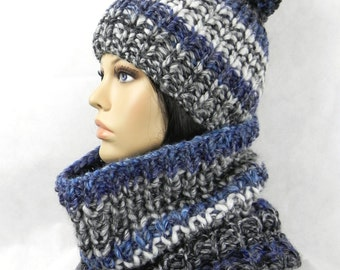 BOBBLE HAT * Beanie * SCARF * LOOP * set 2 piece SWL * chunky knit bulky handknitted wool