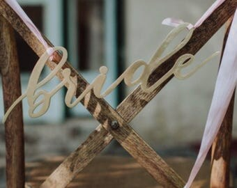 "Bride Laser Cut Signs. Wedding Decor. Made with Raw Birch Wood. 1/8"" Thickness. 3"" Height and 10"" Length."