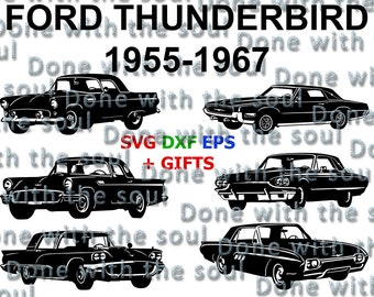 Ford Thunderbird - Ford digital - Ford vector - Car SVG – Car vector - Muscle car - Car cutting files - Thelma & louise - Svg,dxf,eps