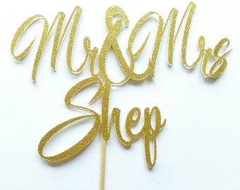 Mr & Mrs custom cake topper. Wedding cake topper. Wedding decorations. Table decor.  Gold glitter.  Silver glitter.