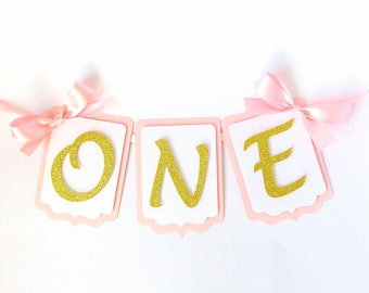 First Birthday Highchair Banner. Pink and Gold. Cake Smash. 1st Birthday Party Decorations. Boy. Birthday Girl.One year old.Silver. Garland