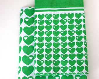 70s linen Graziela set green retro hearts quilt cover pillow vintage Germany unused
