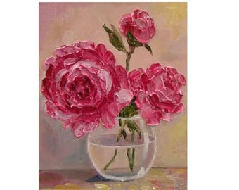 Pink Peony in a Glass Bowl Original oil impasto painting No.04-55 ready to hang