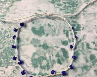 Beaded Bracelet Wax Coated String  Adjustable Sliding knot