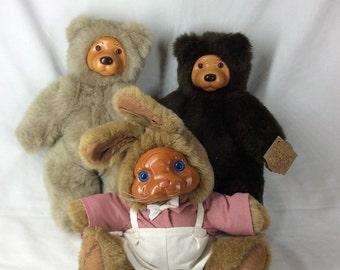 "Robert Raikes Originals 2 Woody Bear ""COOKIE"" w/tag and 1 Bunny Rabbit ""BRETT"" no tag"