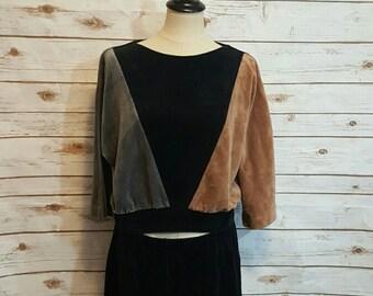 Vintage, 1970's Bardinella Designs, Velour colorblock blouse & culotte pant set, Medium/ Large