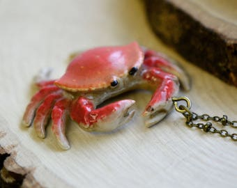 Hand Painted Porcelain Dungeness Crab Necklace, Antique Bronze Chain, Vintage Style, Ceramic Animal Pendant & Chain (CA121)