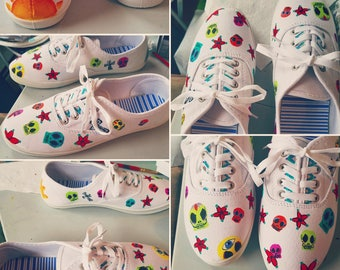 Custom Painted Shoes - Sugar Skulls