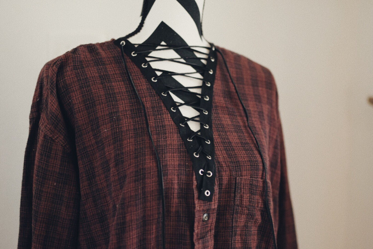 Shirt design with laces - Flannel Lace Up Flannel Shirt Lace Up Shirt Grunge Flannel Oversized Flannel