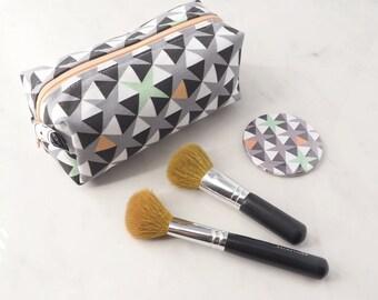 Small Geometric Make up Bag // Cosmetic Bag // Patterned Make up bag // Gift for Her // Fabric Makeup Bag