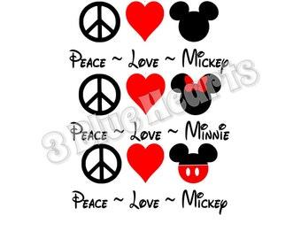 Peace Love Mickey SVG dxf Studio, Peace Love Minnie SVG dxf Studio, Peace Love Mickey, Peace love Minnie, Disney SVG dxf Studio