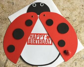Handmade Lady bug birthday card