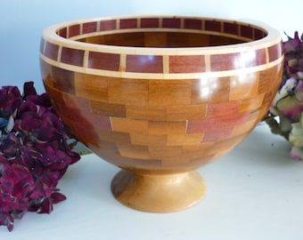 Segmented Sycamore and Purple Heart Wood Bowl
