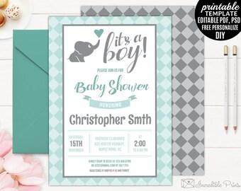 Elephant Baby Shower Invitation Template. Mint and grey Boy Baby Shower Invitation Printable DIY PDF PSD Editable Digital Download