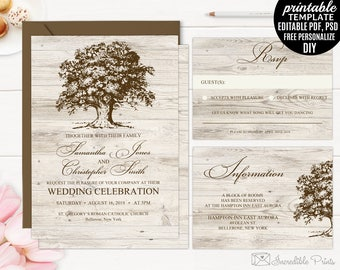 Old Oak Wedding Invitation Set template. Printable Rustic Wood Vintage DIY PDF PSD Digital Editable Download