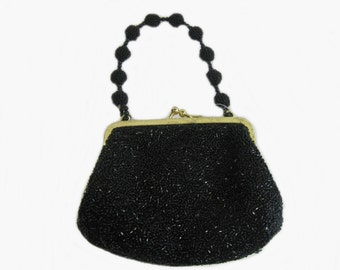 Vintage Black Beaded Purse, Small Formal Handbag, Top Handle Bag, La Regale