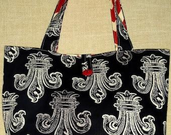 Black Fleur-de-lis Reversible Tote Bag Red and White Chevron Tote Bag Overnight Bag Beach Bag Black and White Bag Grocery Bag