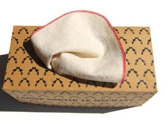 Tissue of beige washable fabric with red seam - wipe - reusable Kleenex - durable washable handkerchief - Zero waste - Zero Waste