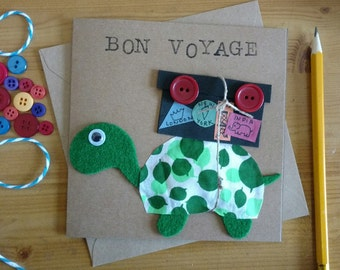 Bon Voyage-  Handmade Greeting Card - Kraft Card - Goodbye - Tortoise Card