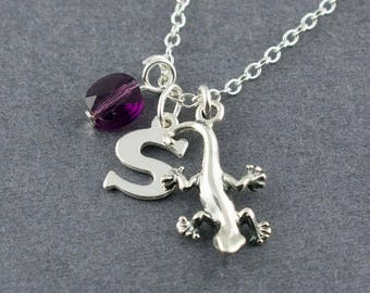 Personalized Sterling Silver Gecko or Lizard Charm Necklace, Birthstone Necklace, Initial Charm